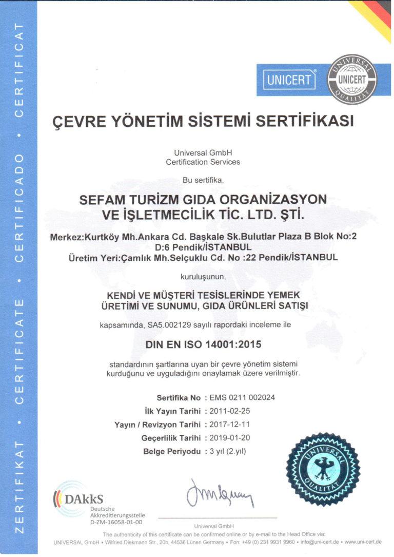 Çevre Yönetim Sistemi Sertifikası ISO 14001 : 2015