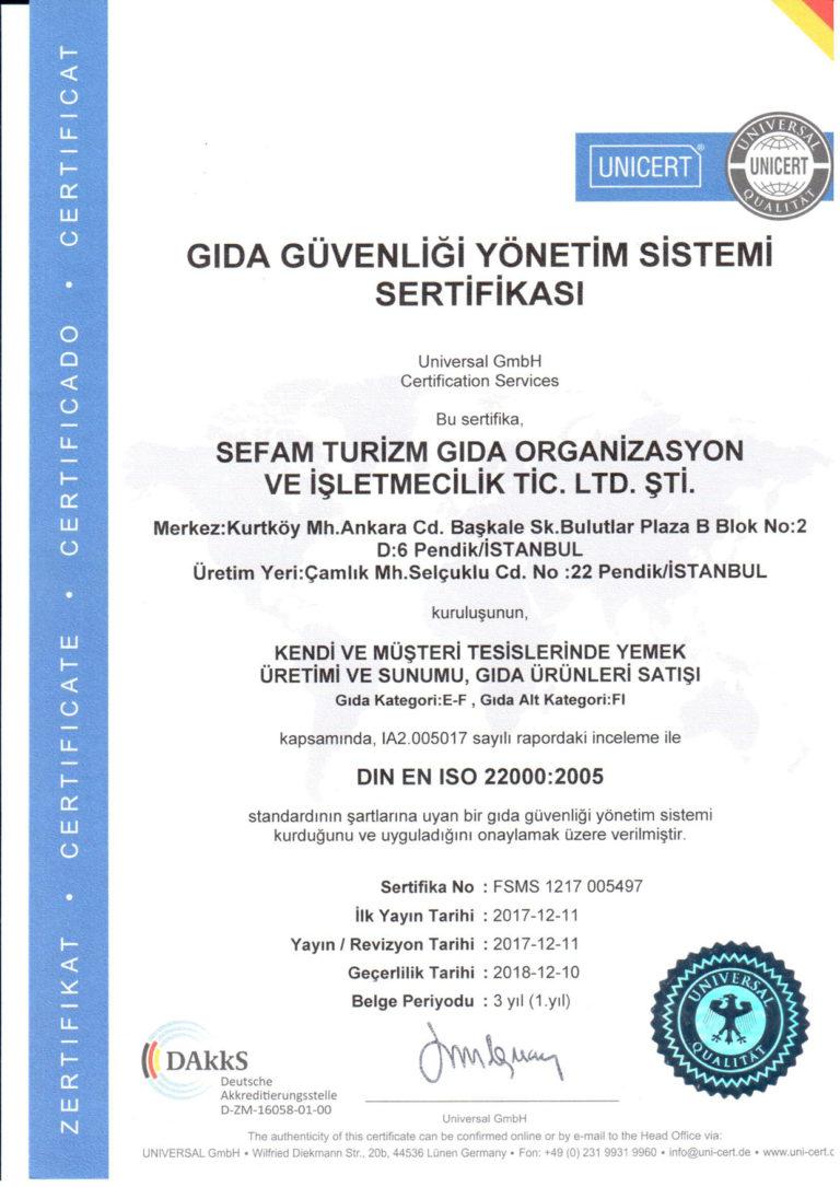 Gıda Güvenliği Yönetim Sistemi Sertifikası ISO 22000:2005