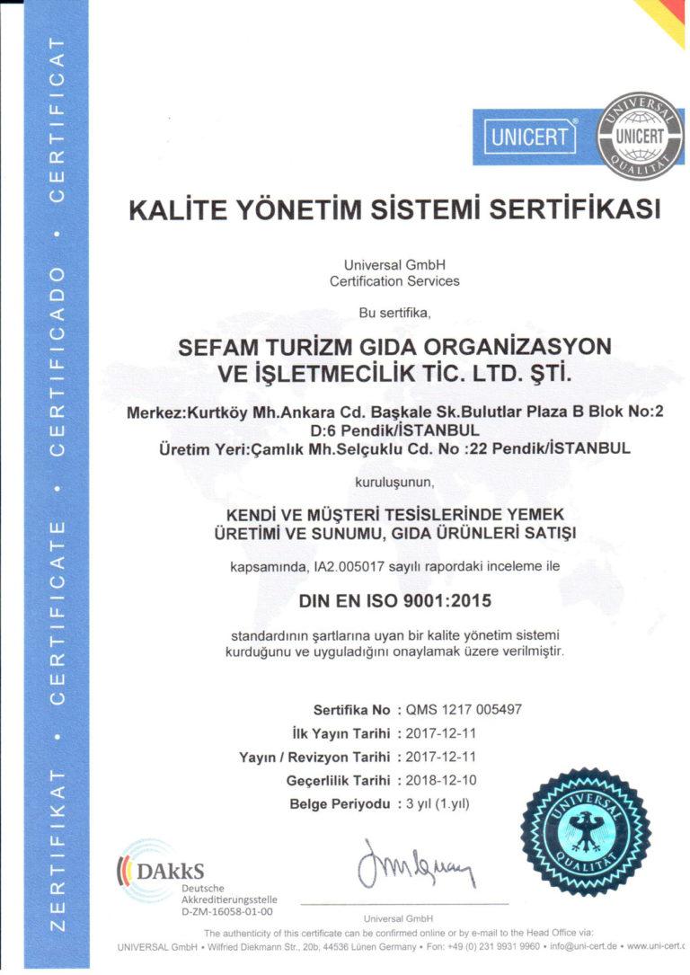 Kalite Yönetim Sistemi Sertifikası ISO 9001 : 2015