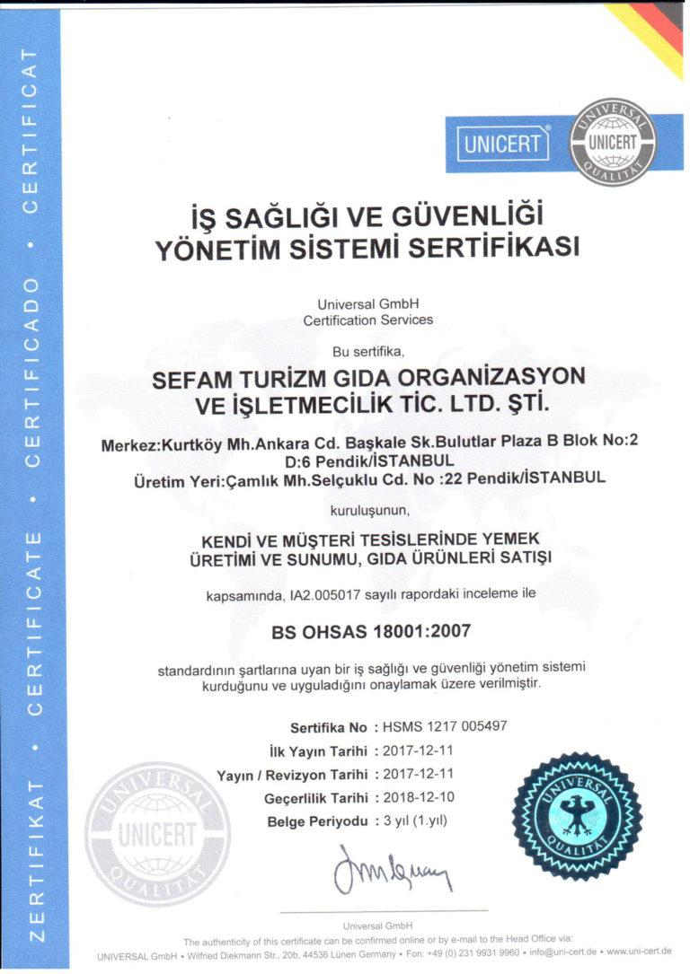 Iş Sağlığı ve Güvenliği Yönetim Sertifikası OHSAS 18001 : 2007
